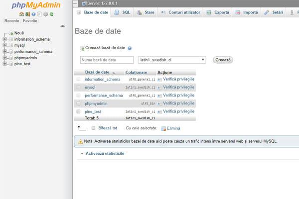 PHP MyAdmin - Baze de date